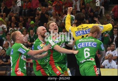 Magdeburg's Robert Weber (left to right), Yves Grafenhorst, Daniel Pettersson, goalie Jannick Green Krejberg and - Stock Photo