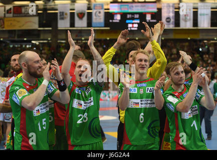 Magdeburg's Yves Grafenhorst (left to right), Robert Weber, Matthias Musche and Daniel Pettersson celebrate after - Stock Photo