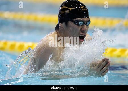 Tokyo, Japan. 21st May, 2017. Akihoro Yamaguchi Swimming : Japan Open 2017 Men's 200m Breaststroke Heat at Tatsumi - Stock Photo