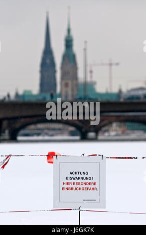 warning of thin ice - Stock Photo