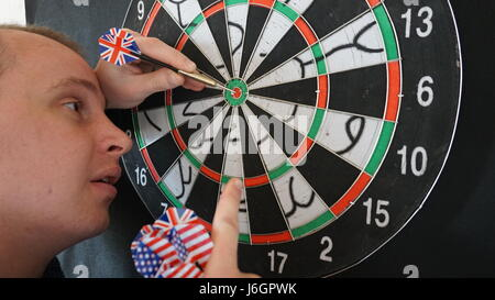 Business concept of darts. The target hanged on the wall - Stock Photo