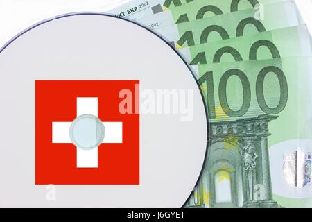 euro switzerland bank notes dvd CD money euro switzerland flag bank notes data - Stock Photo