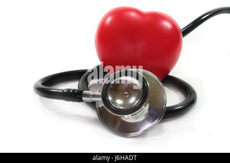 stethoscope beating of the heart lovelorn cardiac infarction cardiac defect - Stock Photo