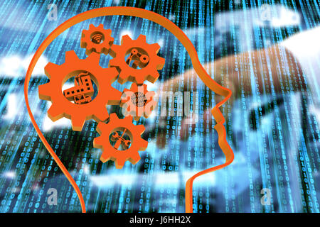 Industrial 4.0 Cyber Physical Systems concept, Human head with brain gears and industry4.0 icons with binary coded - Stock Photo