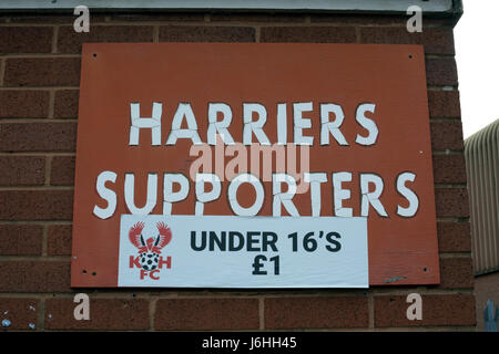 A sign at Kidderminster Harriers football ground, Worcestershire, England, UK - Stock Photo