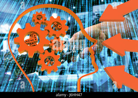 Industrial 4.0 Cyber Physical Systems concept, Human head with brain gears and orange industry4.0 icons, arrow with - Stock Photo