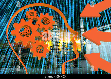 Industrial 4.0 Cyber Physical Systems concept, Human head with brain gears and orange industry4.0 icons , arrow - Stock Photo