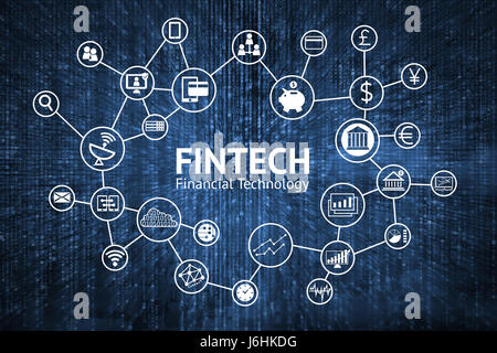 Fintech Internet Concept. text and Investment Financial Technology icons with blue matrix coded background - Stock Photo