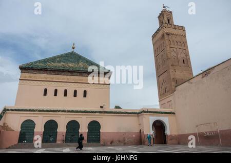 Courtyard of mosque Zaouia de Sidi Bel Abbes in Marrakech medina, Morocco - Stock Photo