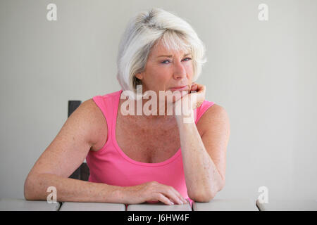 sad front view seniors senior citizens the elderly elderly people elderly - Stock Photo
