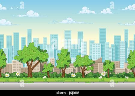 Seamless cartoon city background. Vector illustration with separate layers. - Stock Photo