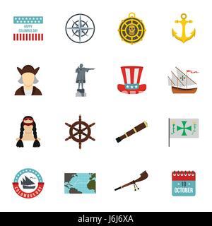 Columbus Day icons set, flat style - Stock Photo