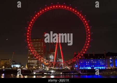 Coca-Cola London Eye at Night - Stock Photo