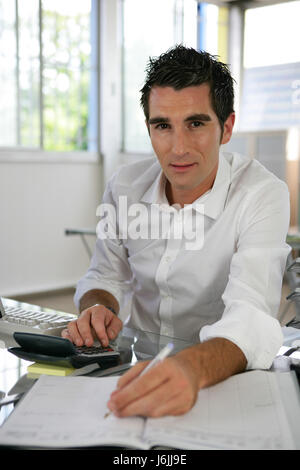 office type model build inside blank european caucasian front view vertical - Stock Photo
