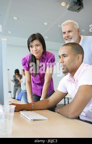 woman profile office men man teacher inside life exist existence living lives - Stock Photo