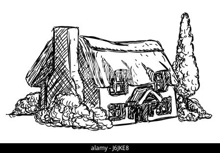 A farm cottage house in a retro grunge hand drawn style - Stock Photo