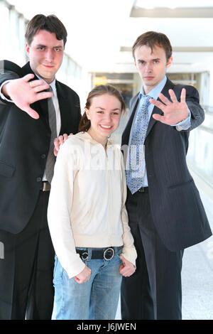 gesture humans human beings people folk persons human human being danger laugh - Stock Photo