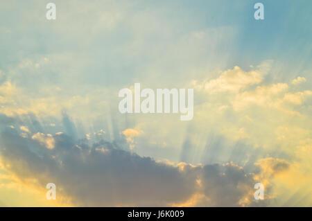 Beautiful sunset, sun ray , Sun Cloud and Sky in twilight - Stock Photo