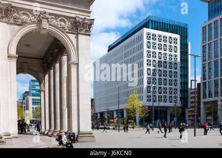 No.2 St Peter's Square building with detail of Central Library to the left in Manchester UK - Stock Photo