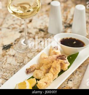 Hot crispy prawn tempura with sauce - Stock Photo