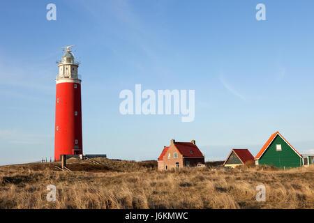 house building navy holland firmament sky lighthouse isle island blue house - Stock Photo