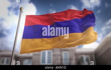 Armenia Flag 3D Rendering on Blue Sky Building Background - Stock Photo
