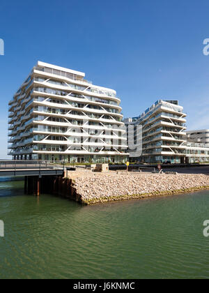 Aarhus, Denmark - May 2, 2017: Contemporary residential architecture at newly developed harbor area. - Stock Photo
