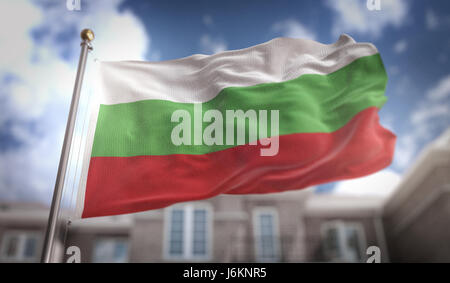 Bulgaria Flag 3D Rendering on Blue Sky Building Background - Stock Photo