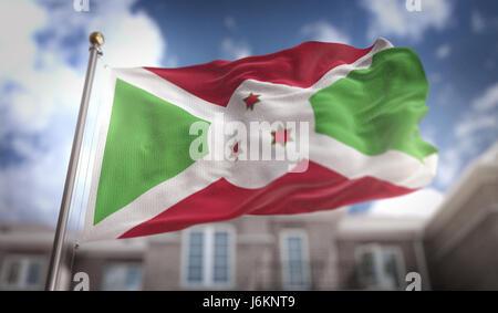 Burundi Flag 3D Rendering on Blue Sky Building Background - Stock Photo