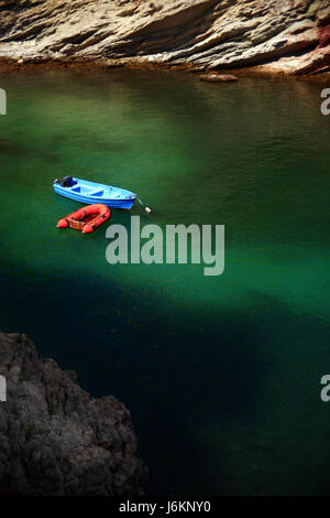 bay with two boats in the sea - Stock Photo