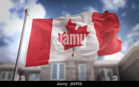 3D rendering of Canada flag waving on blue sky background Canada