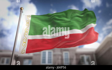 Chechen Republic Flag 3D Rendering on Blue Sky Building Background - Stock Photo