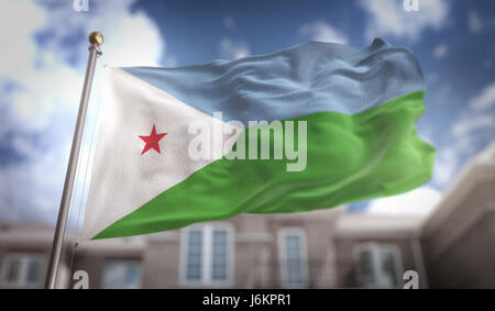 Djibouti Flag 3D Rendering on Blue Sky Building Background - Stock Photo