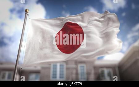 Japan Flag 3D Rendering on Blue Sky Building Background - Stock Photo