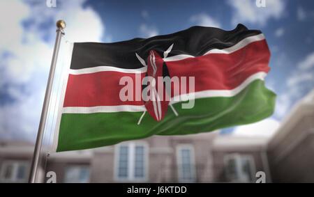 Kenya Flag 3D Rendering on Blue Sky Building Background - Stock Photo