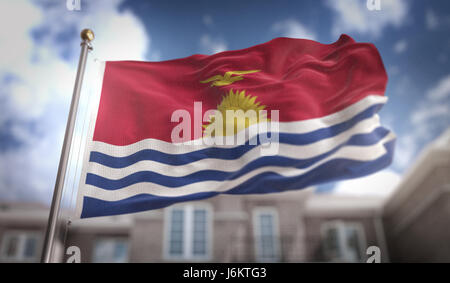 Kiribati Flag 3D Rendering on Blue Sky Building Background - Stock Photo