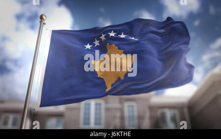 Kosovo Flag 3D Rendering on Blue Sky Building Background - Stock Photo