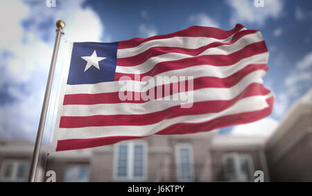 Liberia Flag 3D Rendering on Blue Sky Building Background - Stock Photo