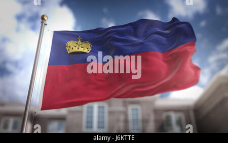 Liechtenstein Flag 3D Rendering on Blue Sky Building Background - Stock Photo