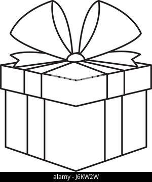outline gift box surprise birthday vector illustration ...