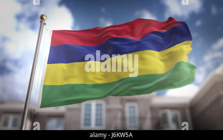 Mauritius Flag 3D Rendering on Blue Sky Building Background - Stock Photo