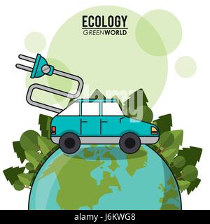 ecology green world car vehicle transport electric concept - Stock Photo