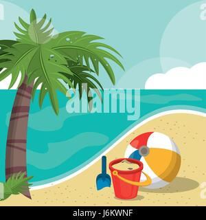 seaside view on beautiful sunny beach with palm, beach ball, bucket, shovel. summer vacation concept - Stock Photo