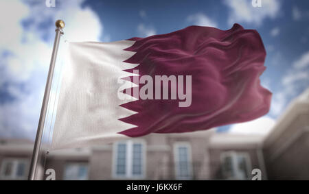 Qatar Flag 3D Rendering on Blue Sky Building Background - Stock Photo