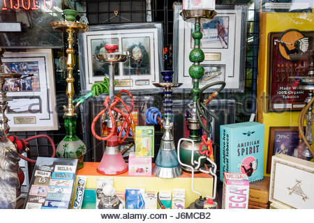 Miami Beach Florida Washington Avenue Aladdin Smoke Shop hookah bong smoking - Stock Photo