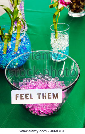 Miami Beach Florida 22nd Street Collins Park Sunday Market glass beads for sale - Stock Photo