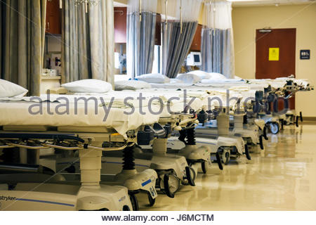 Miami Beach Florida Mt. Mount Sinai Medical Center hospital beds - Stock Photo