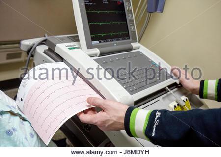 Miami Beach Florida Mt. Mount Sinai Medical Center hospital emergency room print-out heart monitor - Stock Photo