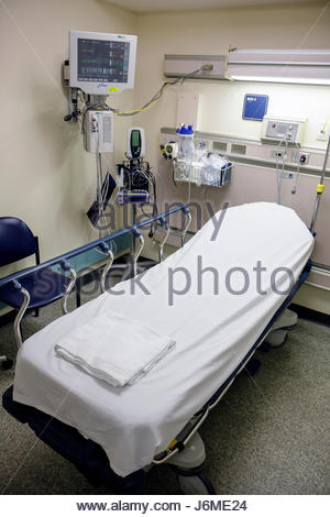 Hospital emergency room with bed and equipment. Horizontal Stock ...