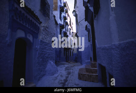 17.11.2010, Chefchaouen, Morocco, Africa - The maze of alleyways and blue-white coloured house facades in the medina - Stock Photo